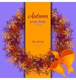 Autumn grape with orange leaves Circle and border vector image vector image