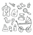baby shower items doodles vector image vector image