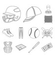 baseball and attributes outline icons in set vector image vector image