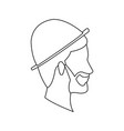 bearded head man profile with hat outline vector image
