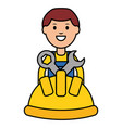 builder worker with helmet and wrench keys vector image vector image