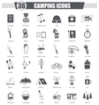 Camping travel black icon set Dark grey vector image