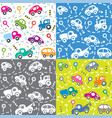 cars on the road seamless kids pattern set vector image vector image