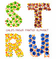 colorful funny paint alphabet s t r u letters vector image