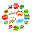 comic bubbles set icons set cartoon style vector image vector image