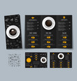 design a triple black menu for cafes and vector image vector image