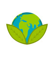 earth planet with two leaves icon vector image