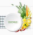 flat lay fresh vegetables on white table vector image vector image