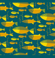 gold fish seamless pattern in retro color vector image