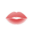 halftone dots red woman lips abstract design vector image