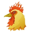 head of a flamy rooster vector image