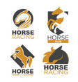 horse racing logotypes set with mustang vector image
