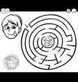 maze with boy and cake for coloring vector image vector image