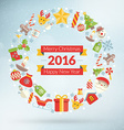merry christmas and happy new year 2016 flat style vector image