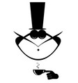 mustache man in the top hat has a cap of coffee vector image vector image