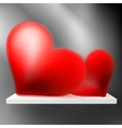 Pair of valentine heart on shelf EPS10 vector image