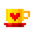 pixel cup coffee tea cartoon retro game style vector image vector image
