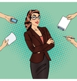 Pop Art Confident Business Woman at Office Work vector image vector image