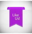 purple Like us label vector image vector image