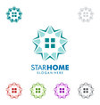 Real estate logo design with star and home vector image