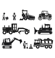 Road construction worker black icons set vector image