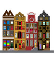 set houses in dutch style different color vector image