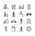 set of energy and ecology line icons vector image vector image