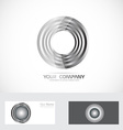 Silver rings circle abstract logo vector image