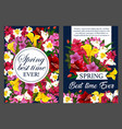 spring flower bouquet banner of springtime holiday vector image vector image