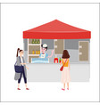 street food drinks market talls canopy and vector image