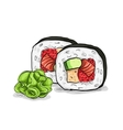 sushi color sketch Futomaki roll vector image vector image