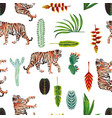 tiger leaves flowers cactus seamless white vector image vector image