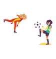 two teenage girls - ice skating playing football vector image vector image