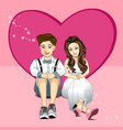 Young couple sitting on floor vector image vector image