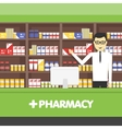Young pharmacy chemist man standing in drugstore vector image vector image