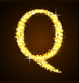 Alphabets Q of gold glittering stars vector image