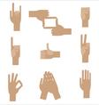 set of nine popular human hand gestures vector image