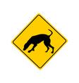 Dog at work warning sign vector image