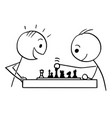 cartoon of two man playing chess vector image