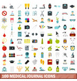 100 medical journal icons set flat style vector image vector image