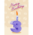 3 year Happy Birthday Card vector image vector image