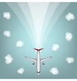 airplanes with clouds and line vector image