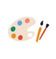 artist s palette with paints different colors vector image