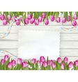 Beautiful tulips with card EPS 10 vector image