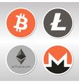 Bitcoin Litecoin Ethereum Monero logo vector image