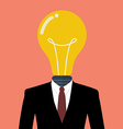 Businessman with a light bulb instead of head vector image vector image