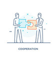 businessmen connect puzzle joint efforts success vector image