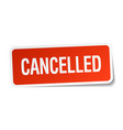 cancelled red square sticker isolated on white vector image vector image