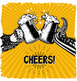 cheers bear and octopus is holding a glass vector image vector image