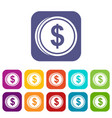 coin dollar icons set vector image vector image